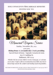 Holy Innocents Ministry Invites You to Nov 7
